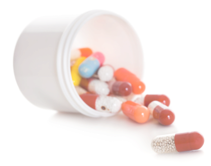 capsules in a container